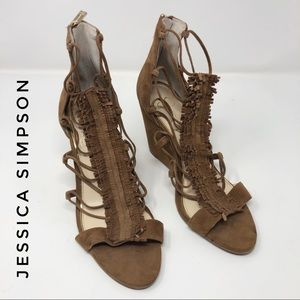 Jessica Simpson Brown Suede Cowgirl Wedges 9M EUC